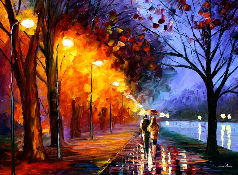 Love Couple Painting Walking
