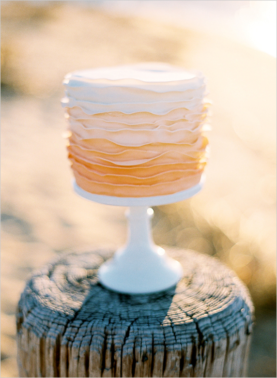 hand-painted ombre wedding cake