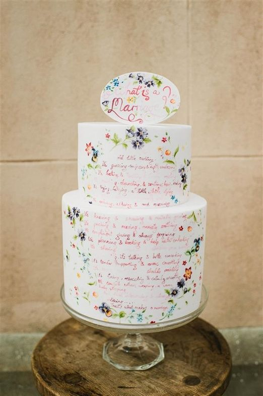 scroll inspired wedding cake