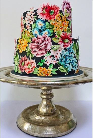 floral hand-painted wedding cake
