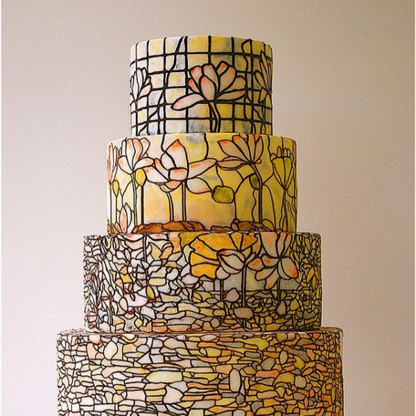 stained glass hand-painted wedding cake
