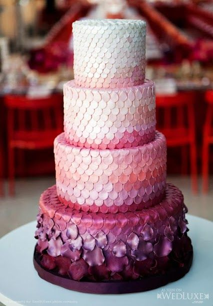 unique ombre wedding cake