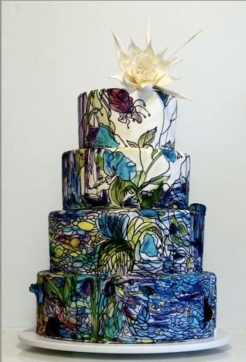 painting inspired wedding cake