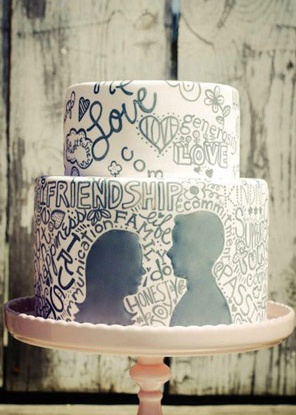 hand lettering inspired wedding cake