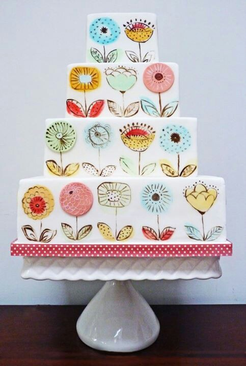 floral hand-painted cake