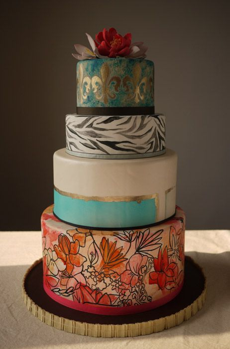 unique hand-painted wedding cake