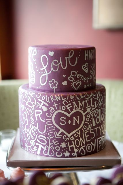 hand lettering inspired cake
